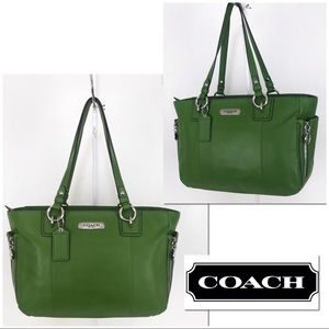 Coach LIKE NEW Gallery Green Leather Tote Bag